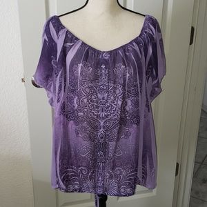 Sheer Purple Bohemian Top